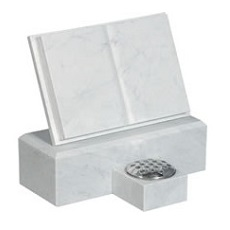 White marble cremation plaque